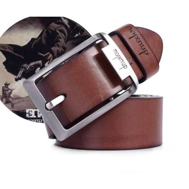 Men's Single-Prong Leather Belt with Metal Buckle