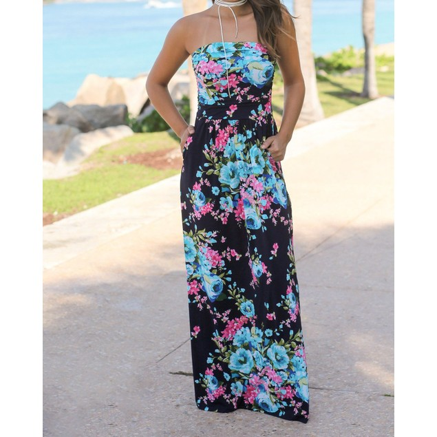 Strapless Maxi Floral Dress