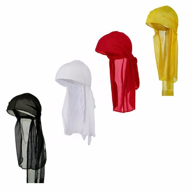 Mens Long Tie Soft Du-rag Skull Cap- 4 colors pack