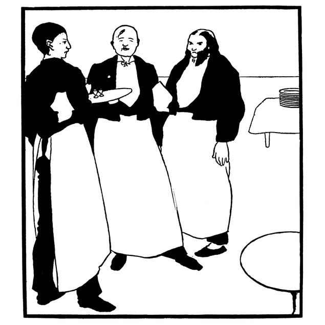 Beardsley: Yellow Book. /N'Garcons De Cafe.' Line-Block Drawing Aubrey Vinc