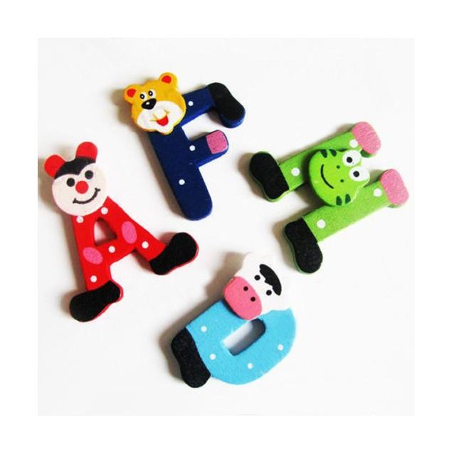 26pcs Wooden Cartoon Alphabet A-Z Magnets Child Educational Toy