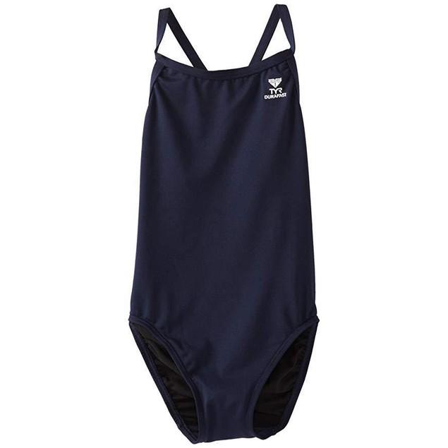 TYR Girl's Durafast Elite Solid Diamondfit Swimsuit (Navy, Size 32)