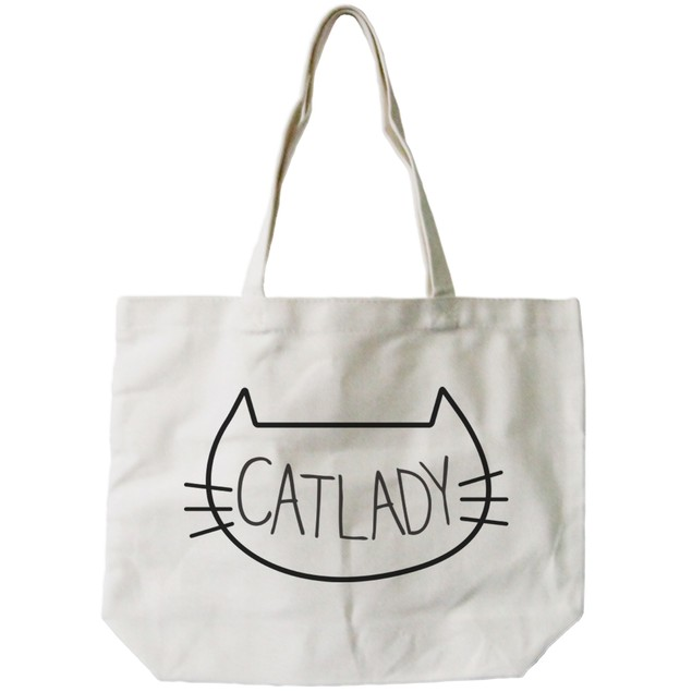 Cat Lady Natural Canvas Tote Bag