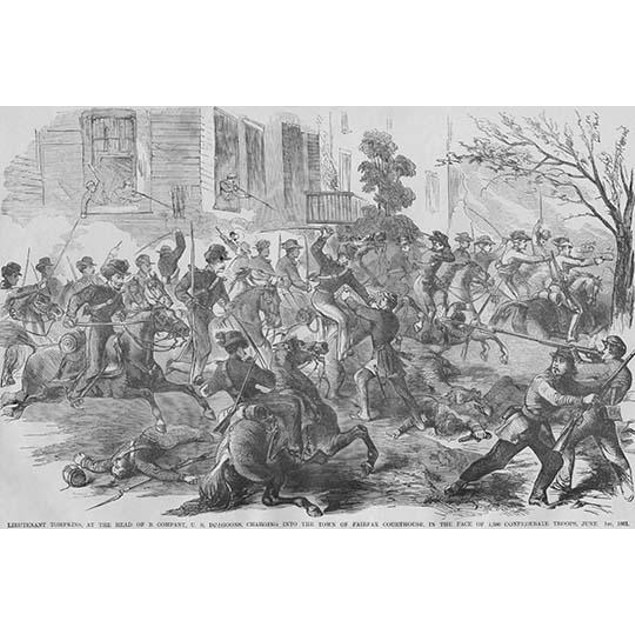Union Cavalry Charge into Fairfax County Virginia under Tomkins Poster