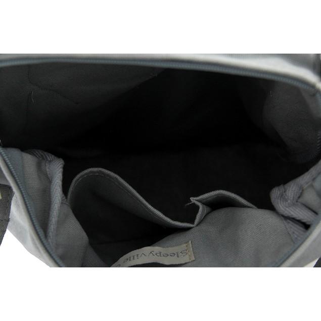 White Unicorn Pocket Peeker Grey Cotton Canvas Womens Cross Body Bags