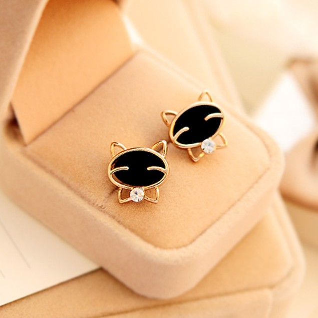 Adorable Black Cat Stud Earrings