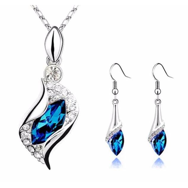 Sapphire Long Teardrop Austria Crystal Earrings Pendant Necklace