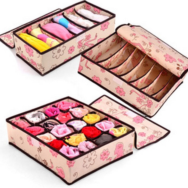 3-Piece Set: Intimates Floral-Print Storage Boxes