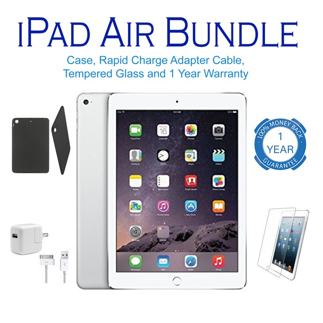 Apple iPad Air Wifi Bundle 16GB-128GB (Charger, Stylus, Case, Screen)