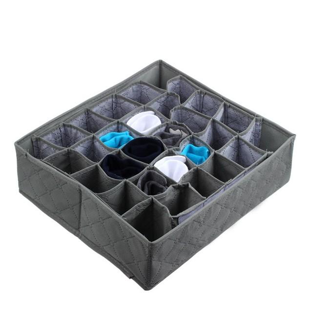 30 Cells Bamboo Charcoal Ties Socks Drawer Closet Organizer Storage Box