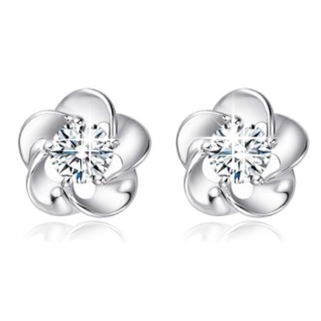 Silver Rose Flower Shaped Austrian Crystal Stud Earrings for Women