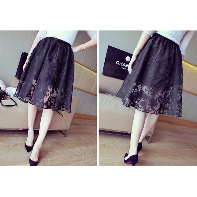 Womens Double Layer Pleated Plaid Long Elastic Waist Skirt
