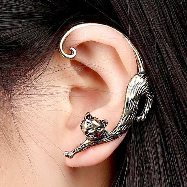 Fashion Gothic Punk Temptation Cat Bite Ear Cuff Wrap Clip Earring