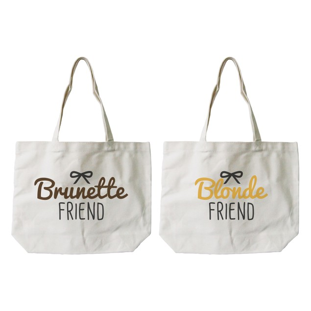 Brunette and Blonde Best Friend Matching Natural Canvas Tote Bag
