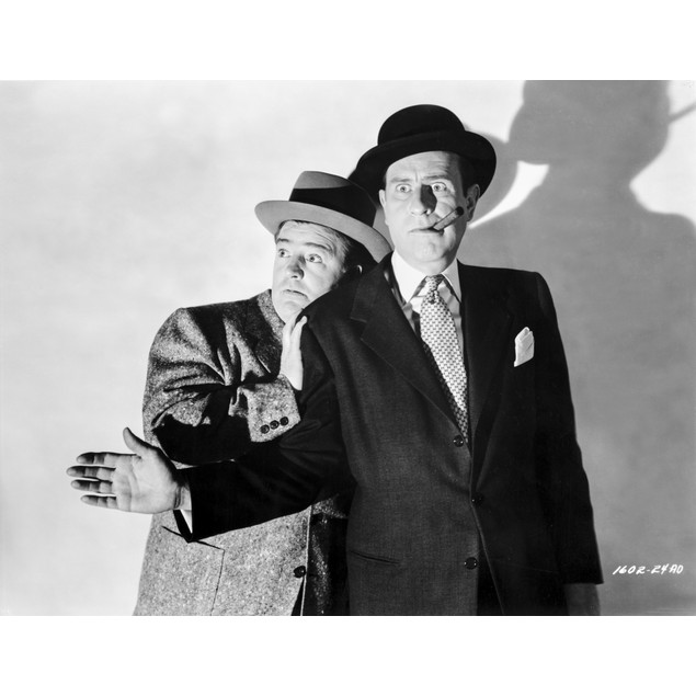 Abbott & Costello Scared with Cigar on Mouth Poster