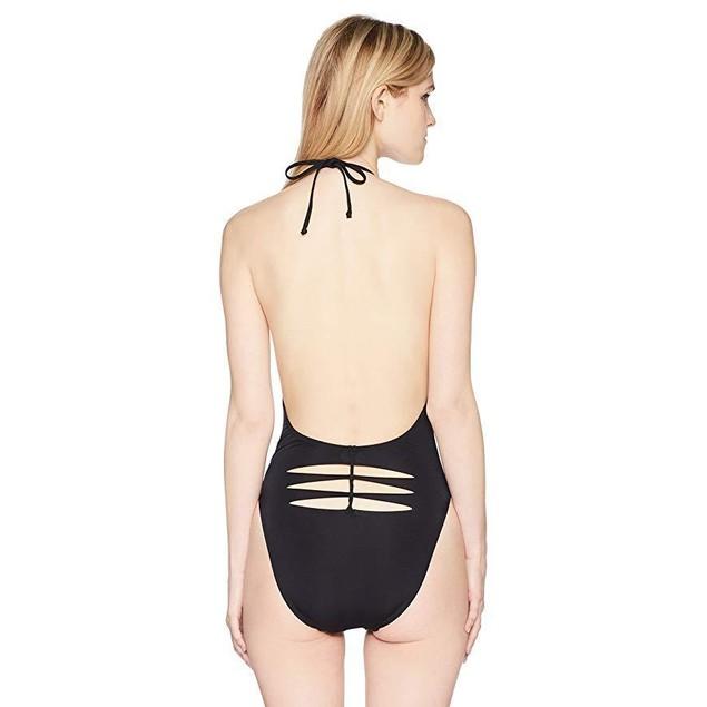 Bikini Lab Junior's Plunge Front Halter One Piece Swimsuit, Black, Sma