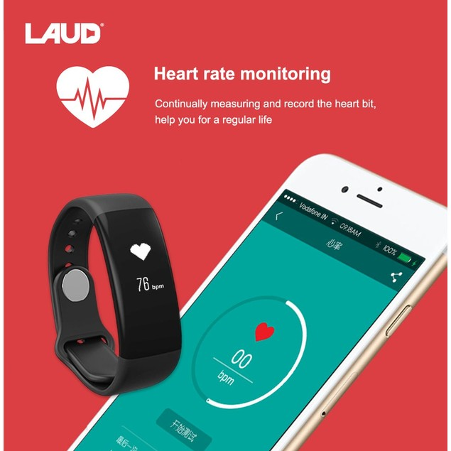 Laud Fitness Band with Heart Rate Monitor Waterproof Pedometer Smart Band