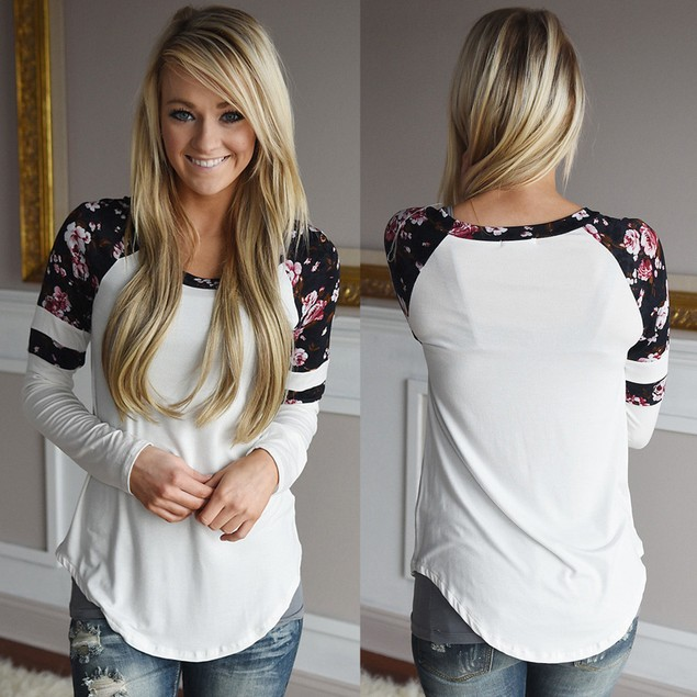 Women Printing Long Sleeve Round Neck Pullover Blouse Tops T Shirt