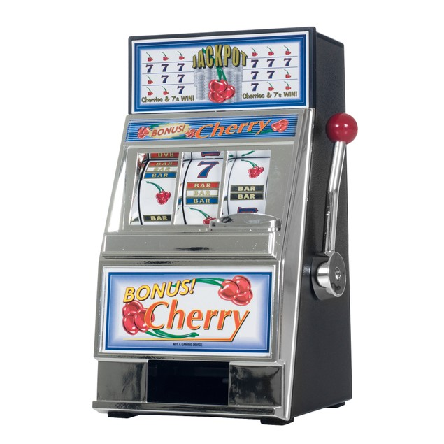 Cherry Bonus Slot Machine bank with Spinning reels