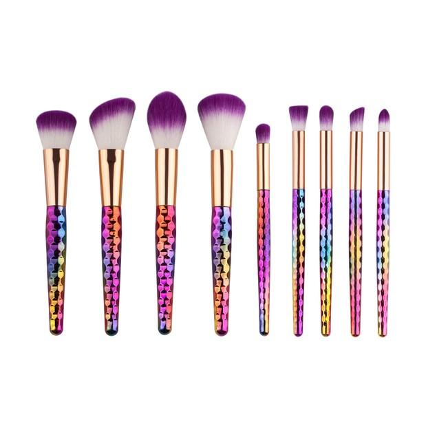 9PC Make Up Foundation Eyebrow Eyeliner Blush Cosmetic Concealer Brushes