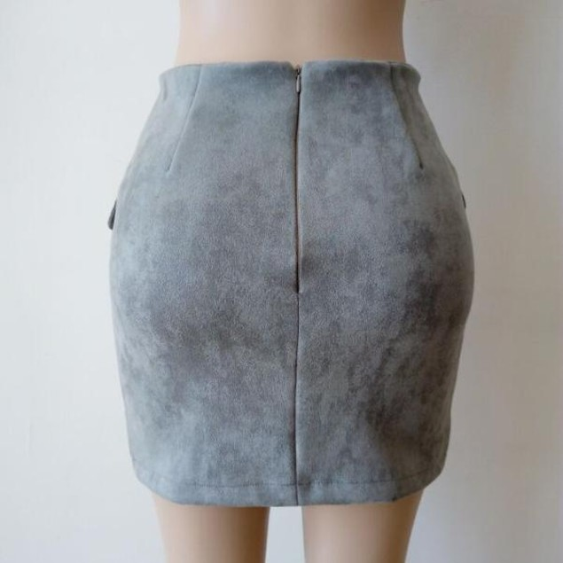 Women Bandage Suede Fabric Seamless Stretch Tight Short  Skirt
