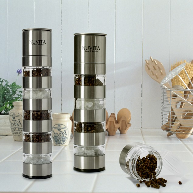 Nuvita Premium Stainless Steel Stackable Mini Salt and Pepper Mills/Grinder