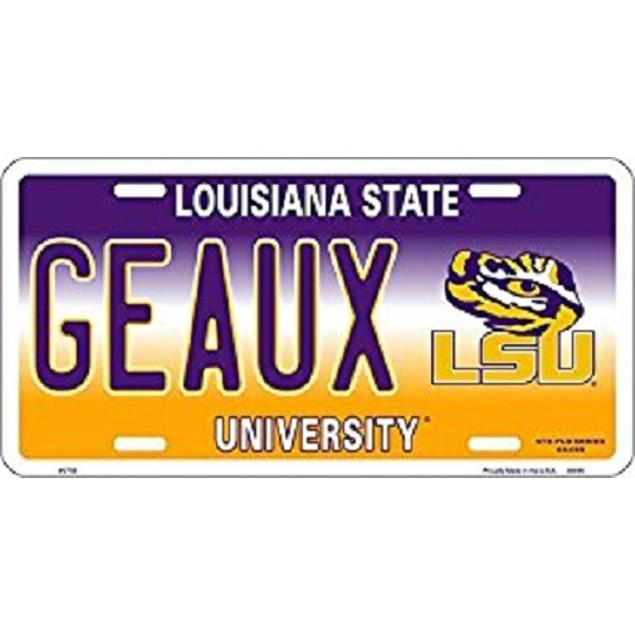"LSU Tigers NCAA ""Geaux"" License Plate"