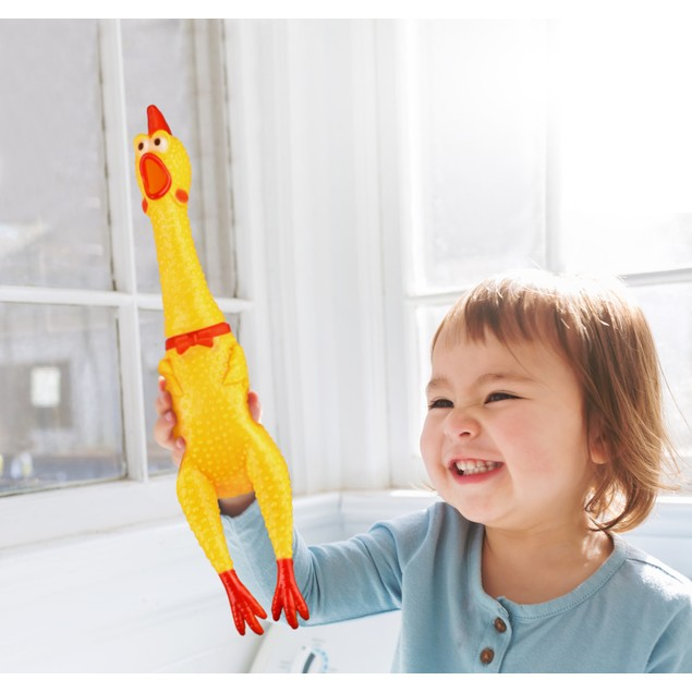 "2-Pack Hilarious 15"" Rubber Screaming Chicken Novelty Toy for Kids & Pets"