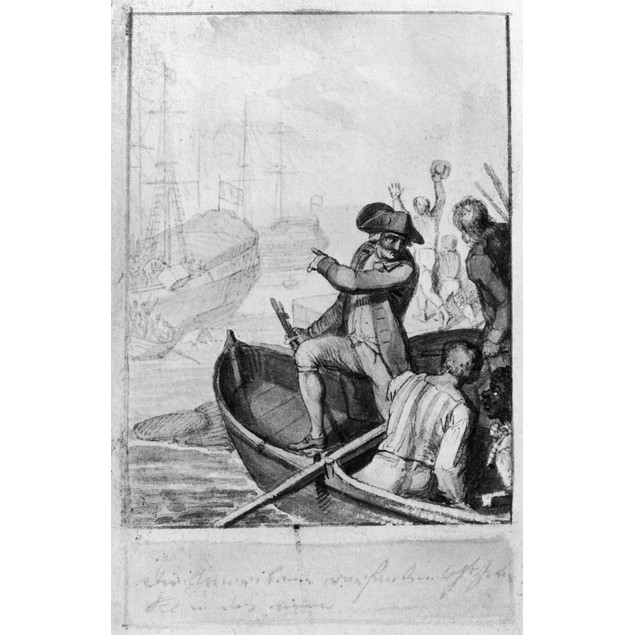 Boston Tea Party, 1773. /Ncontemporary Wash Drawing. Poster