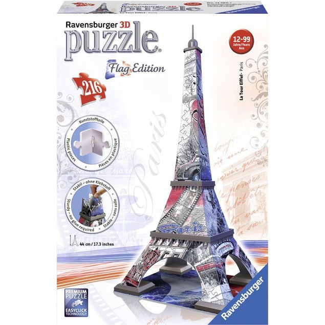 Eiffel Tower Flag Edition 216 Piece 3D Puzzle, France by Ravensburger