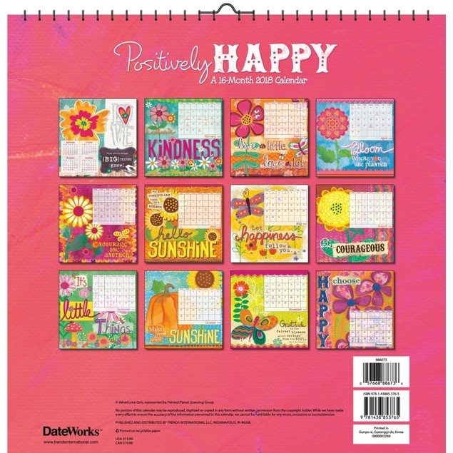 Positively Happy Haskamp Wall Calendar, Motivation by Trends International