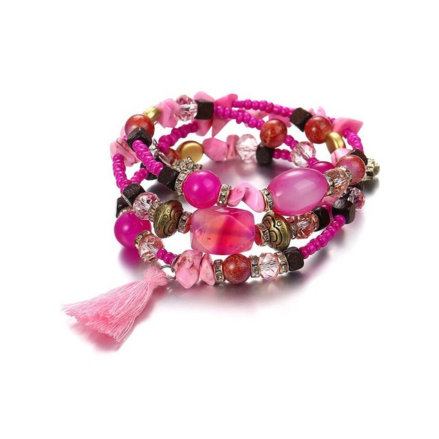 Novadab Charm Multi-Patterned Bead Tri-Layer Bracelet