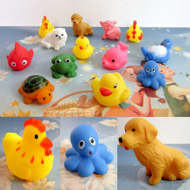 13pcs Rubber Animals With Sound Baby Shower Party Favors Toy