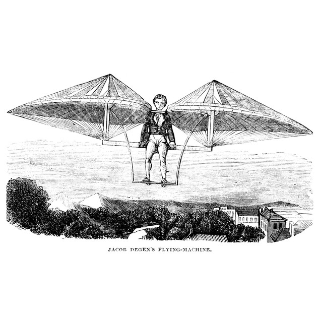 Flying Machine, 1807. /Nflying Machine Invented By Jacob Degen, 1807. Wood