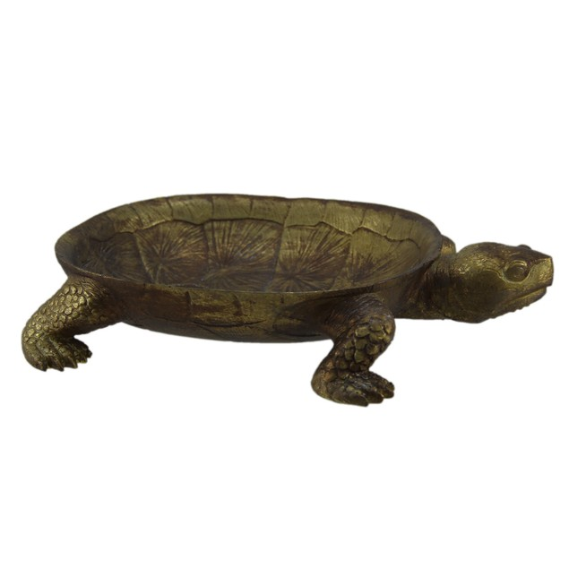 Gold Leaf Finish Decorative Turtle Centerpiece Decorative Trays
