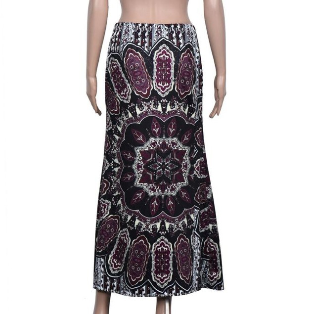 Women Summer Fashion Retro Printing Vintage Long Skirts