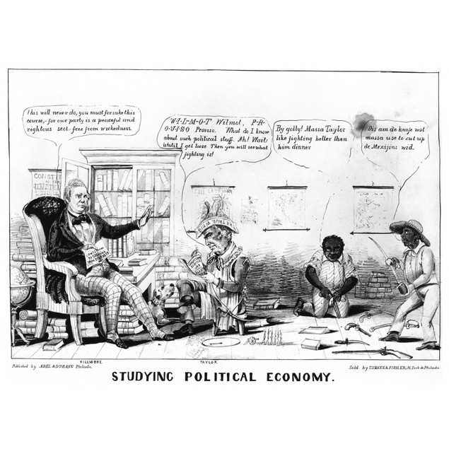 Cartoon: Whigs. /N'Studying Political Economy.' Anti-Whig Cartoon Showing M