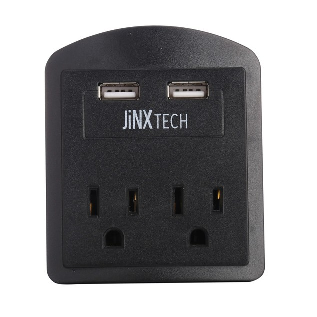 JinxTech 2-Outlet Wall Tap with Dual USB