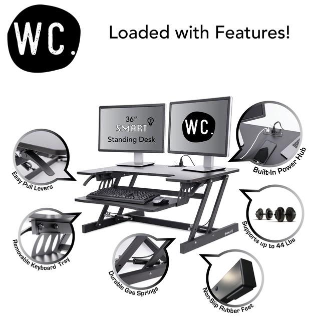 Smart-Lift Height Adjustable Standing Desk with Built-In Power Hub