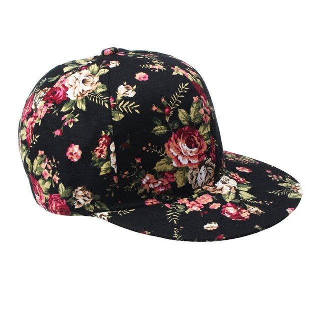 Korean Women Floral Hip-Hop Hat Flat Adjustable Baseball Cap