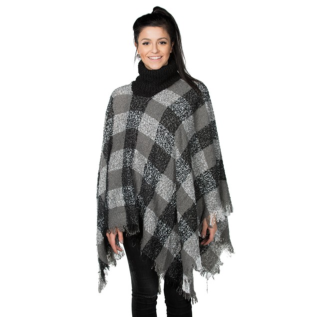 Women's Plaid Fringe Turtleneck Ponchos