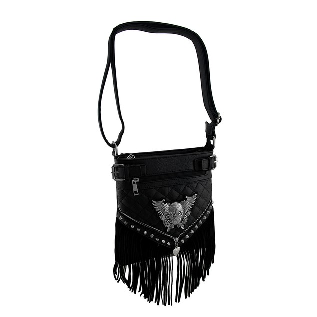Quilt Stitched Winged Sugar Skull Fringed Womens Cross Body Bags