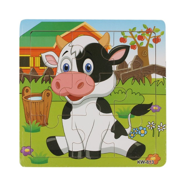 Wooden Dairy Cow Jigsaw Toys For Kids Puzzles Toys