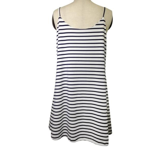 Women Sleeveless Striped Loose Mini Dress Beach Party Casual Sundress