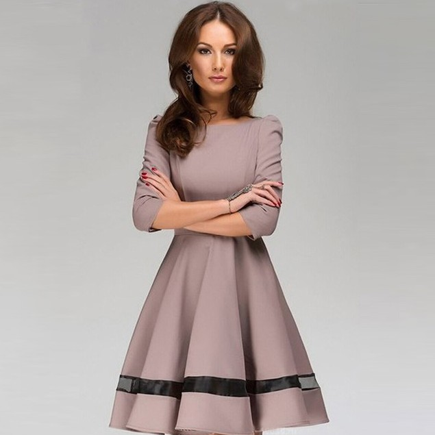 Women Ladies Solid Color Round Neck Long Sleeve Pleated Dress