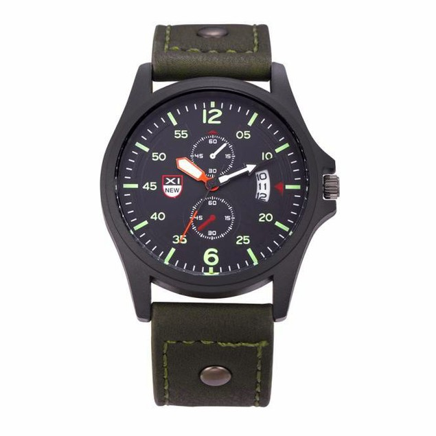 Military Leather Date Quartz Analog Army Men's Quartz Wrist Watches