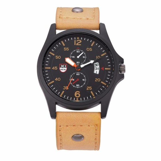 Military Leather Date Quartz Analog Army Men's Quartz Wrist Watches