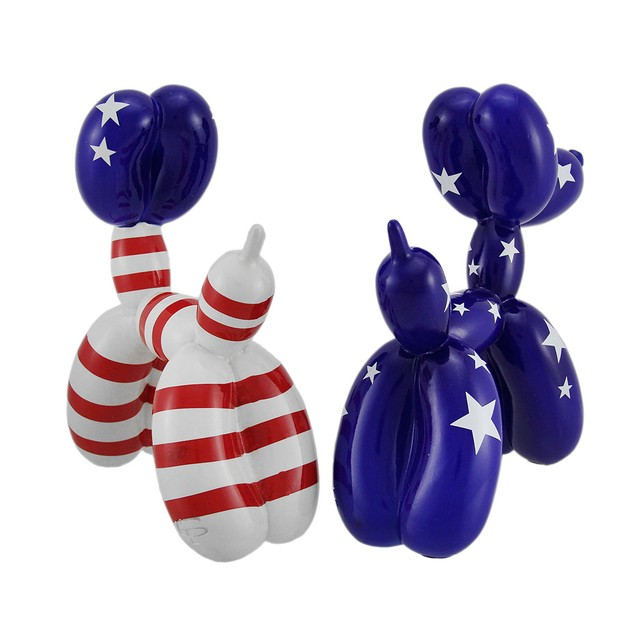 Red White & Blue Americana Balloon Dog Statue 2 Statues
