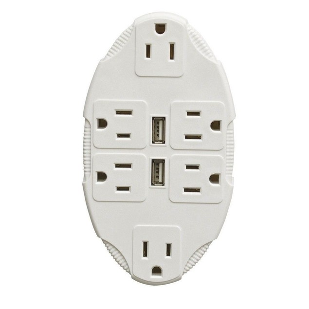 2 USB Port Outlet Multiplier 6 Sockets Multiple Wall Plug Cell Phone