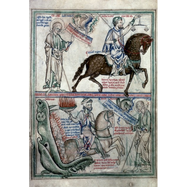 Four Horsemen. /Ndetail Of Black And Pale Horses Of Four Horsemen Of Apocal